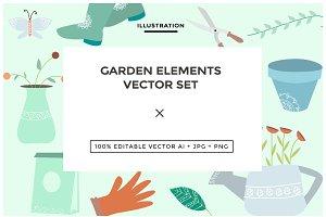 Garden Elements Vector Set