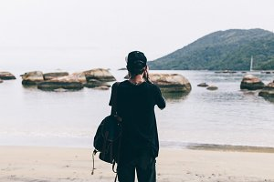 Backpacker on Ilha Grande island
