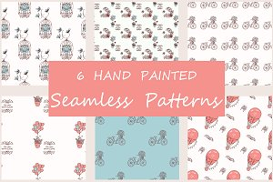 6 Hand Drawn Seamless Patterns