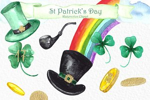 St Patrick's day. Watercolor clipart