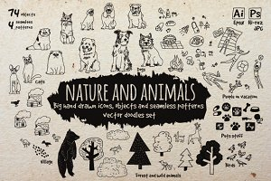 Nature and animals vector icons set