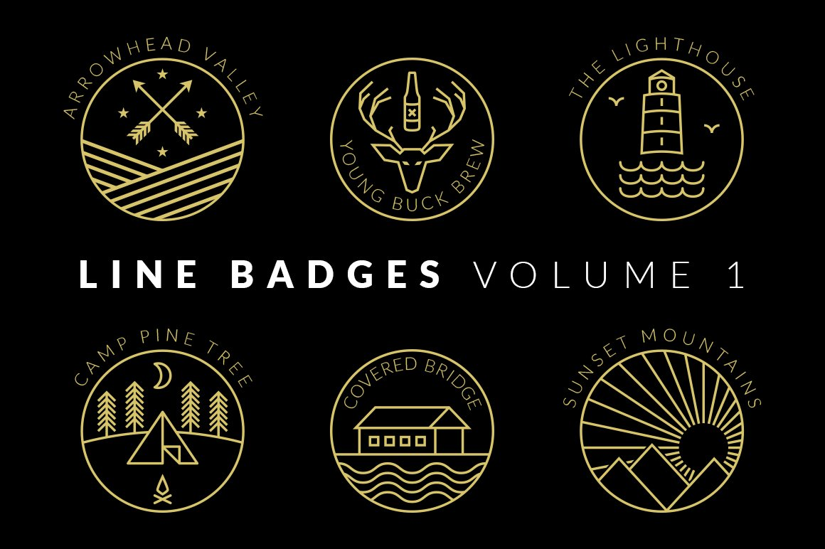 Line Logo Design : Line badges volume logo templates creative market