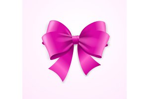 Pink Satin Bow. Vector