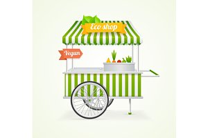 Vegetarian Shop Cart. Vector