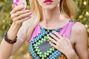 Beauty woman primp in park,lifestyle