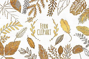 Black and Gold Fern Leaf Clipart Set