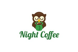 Night Coffee Logo Template