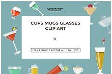 Cups Mugs Glasses Clip Art