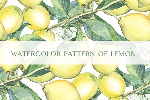 Watercolor pattern of the lemons