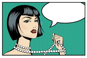 Pop Art woman with speech bubble