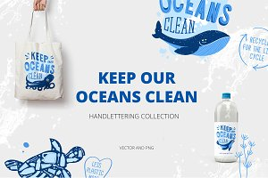 Keep our oceans clean. Cliparts