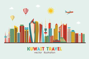 Kuwait City detailed skyline