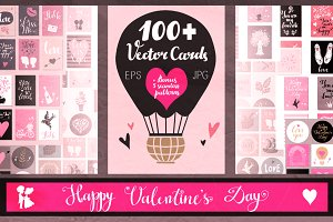 100 + Valentine's Day Vector Cards