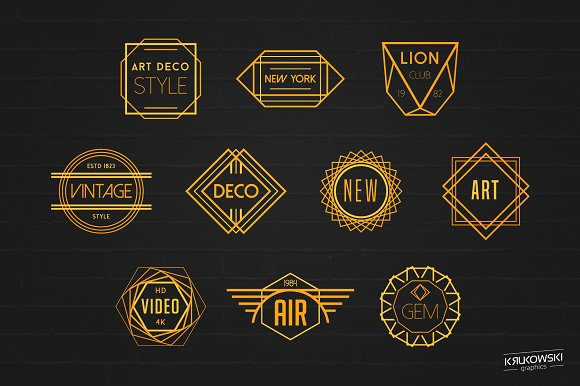 art deco badges logos logo templates creative market