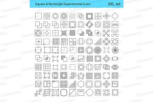 Square & Rectangle linear icons