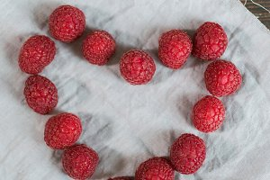heart from raspberries