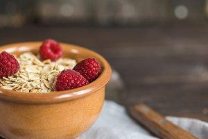 breakfast with raspberries