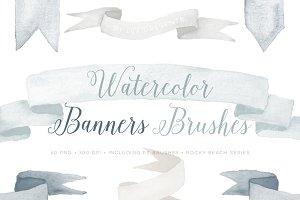 Watercolor Photoshop Brushes Banners