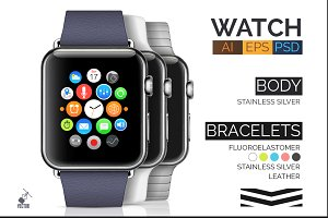 Stainless Apple Watch(AI+PSD) +BONUS