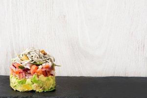 Vegetables and baby eel tartar