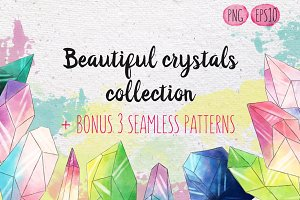 Watercolor crystals set +Bonus!