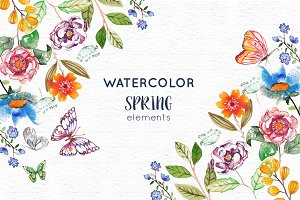 25 Watercolor Spring Elements