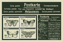 Set Butterflies Postcard Card Stamps
