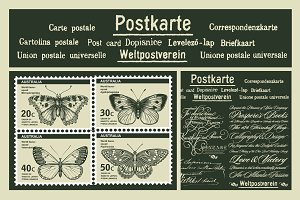 Set Butterflies Postcard Card Stamps