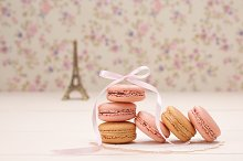Macaron dessert,Eiffel Tower,floral