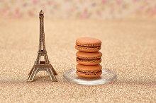 Macarons dessert, Eiffel Tower, gold