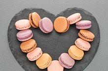 Still life,macaron,heart shape.Love