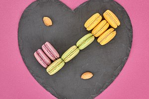 Still life,macaron,key shape.Love