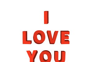 """""""I love you"""", red lettering on white"""