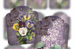 Shabby Chic Purple Floral Tags