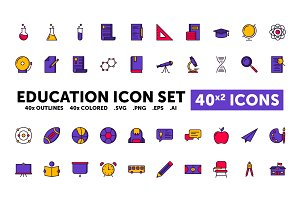 Education Icon Set - 40(x2) Icons