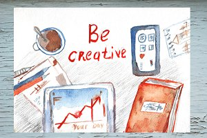 Be creative - watercolor background