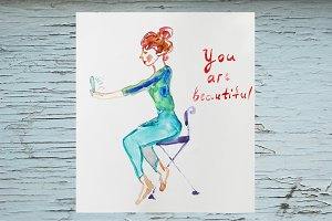 You are beautiful watercolor card