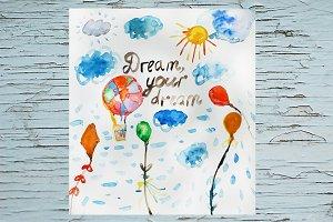 Dreams motivational watercolor