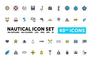 Nautical Icon Set - 40(x2) Icons