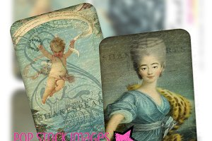 BLUE French Ephemera Art Cards ATC