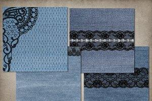 Denim and Jeweled Lace Digital Paper