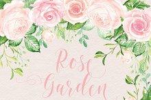 Watercolour rose garden cliparts