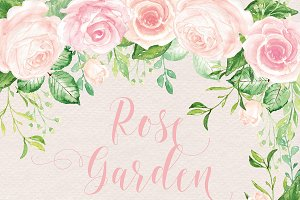 Watercolour rose garden cliparts