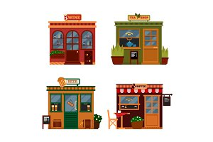 Shops for buying drink. Vector flat