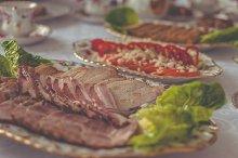 Sausage on a platter