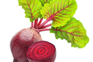 Cut beetroot with leaves