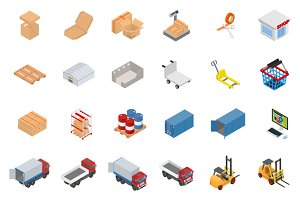 Isometric warehouse object set