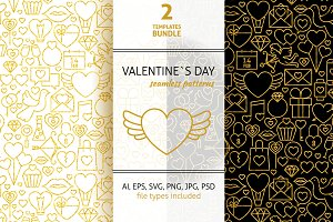 Valentine Day Line Gold Tile Pattern