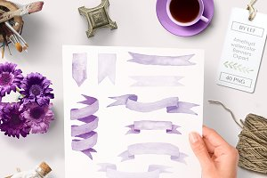 Amethyst Watercolor Banner Clipart