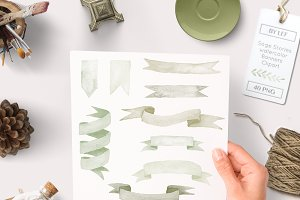 Green Watercolor Ribbon Graphics